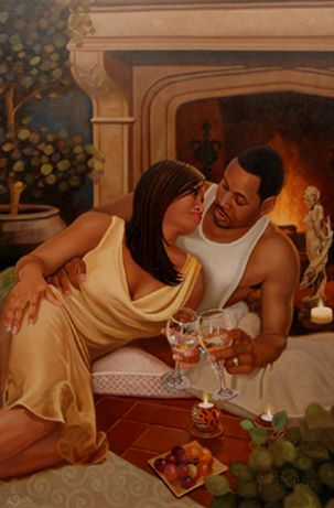 African American Love Couples Art | Roll your mouse over Connections print to see sample framing ...