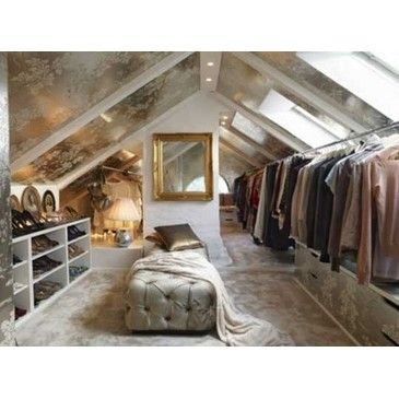 Loft space turned into a glam closet