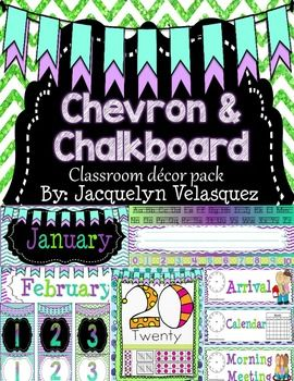 Cool purples, teals, and limes mixed with chevron and chalkboard theme! Super Pretty!