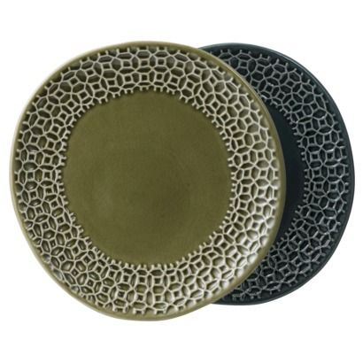 2 ASSRTD Stoneware dessert plate w/ embossed green \u0026 blue  sc 1 st  Pinterest & 53 best Casual Dinnerware images on Pinterest | Casual dinnerware ...