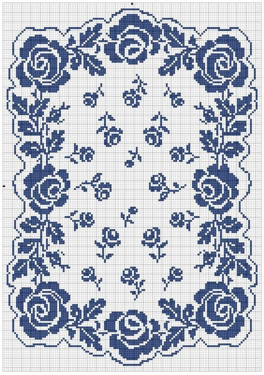 Blue roses cross stitch pattern