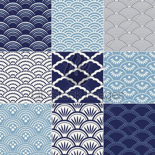 "Japanese Seamless ""Ocean Wave"" Patterns 