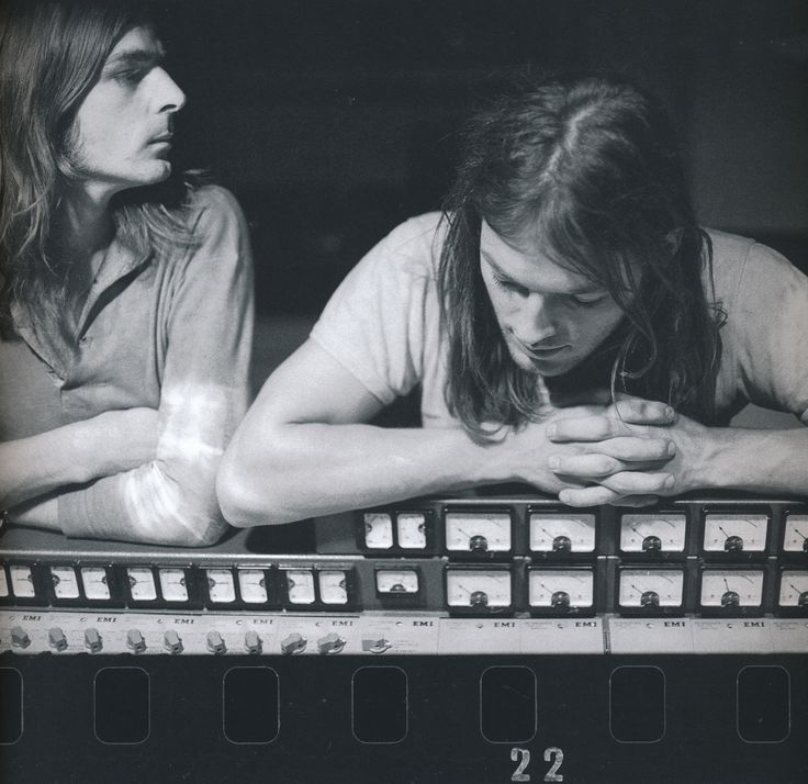 David Gilmour and Richard Wright during the recording of Pink Floyd's Atom Heart Mother, United Kingdom, 1970, photograph by Richard Stanley.