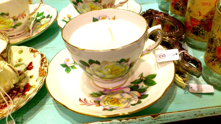 Some Teacup candles I have made using Vintage Teacups at Rua Dublin