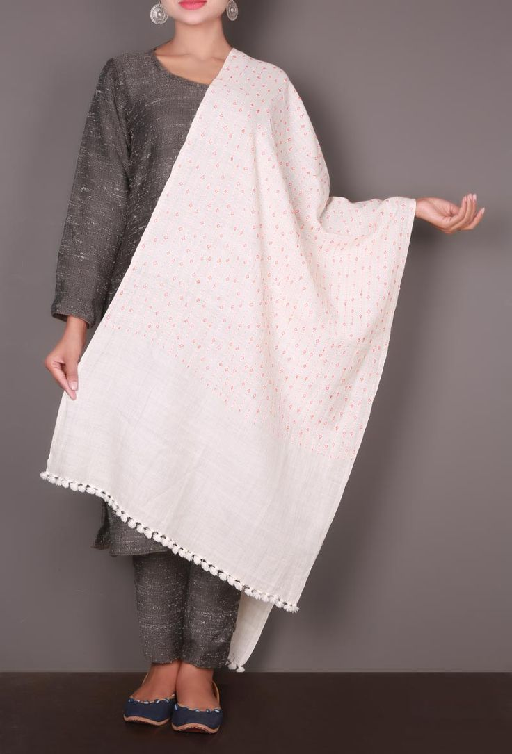 White-Orange Embroidered Kutch Stole