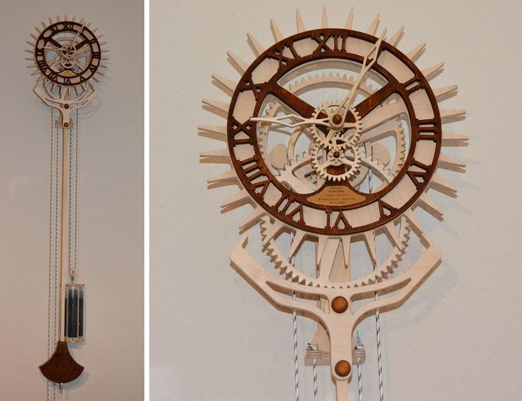 "Wooden clock ""Korona"" from Francisco Suárez. Designed by Christopher Blasius. Plans available at holzmechanik.de"