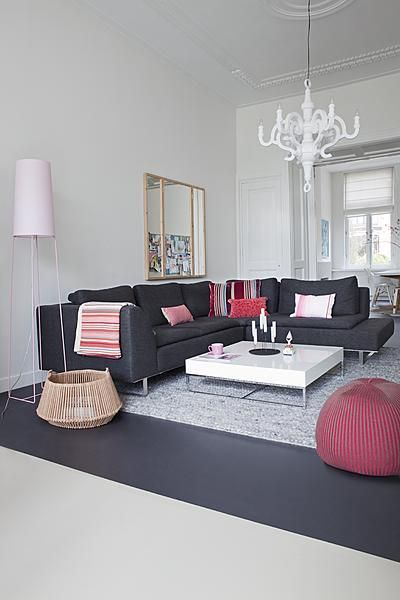 White & grey interior with red & pink accents