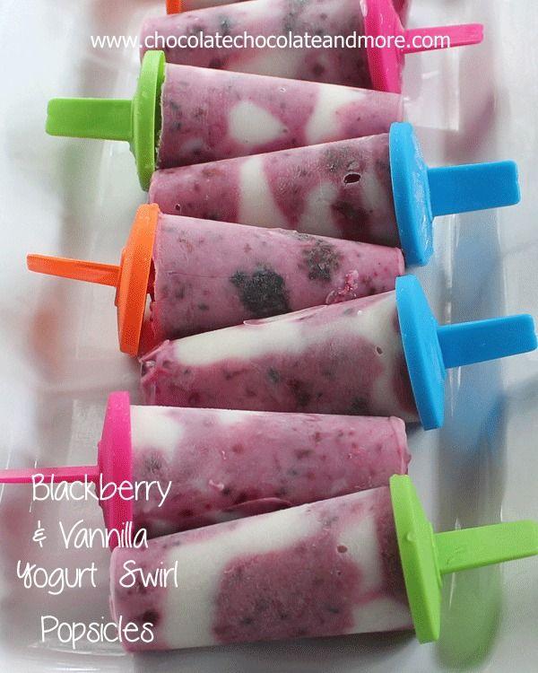 Blackberry and Vanilla Yogurt Swirled Popsicles