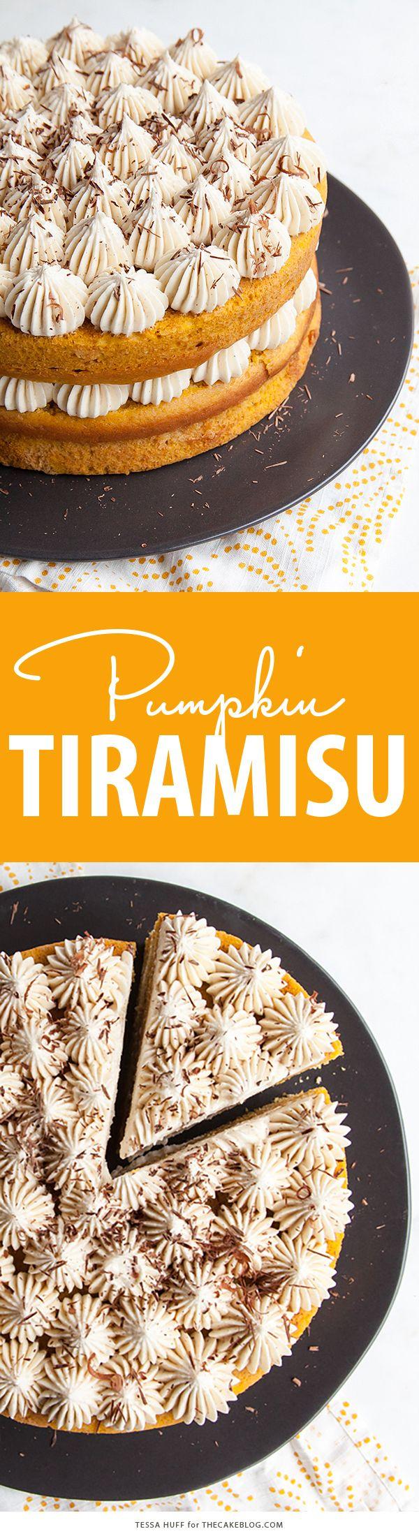 Pumpkin Tiramisu Cake for Thanksgiving dessert. Pumpkin cake soaked with coffee liqueur, layered with mascarpone frosting and chocolate shavings | Tessa Huff for TheCakeBlog.com
