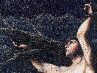 San Sebastiano; olio e sabbia su tela; 140×50 (2)