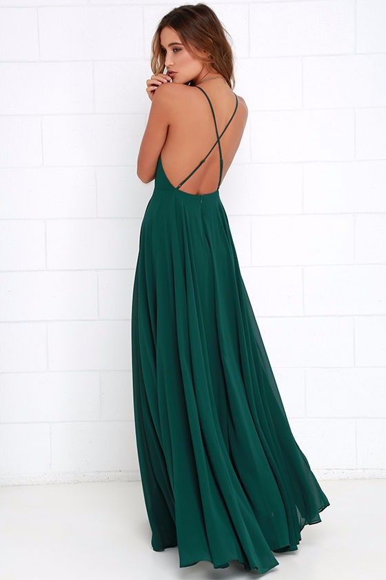 Women's Hunter Green Elegant Chiffon Criss Cross Open Back Maxi Dress Perfect for Weddings - SKU: 4776793Material: Acrylic,Polyester,Lanon,Voile,Acetate,Chiffon,Spandex,Modal,Cotton,Bamboo Fiber,MeshSleeve Length: SleevelessWaistline: EmpirePattern Type: SolidSilhouette: SheathDresses Length: Floor-LengthPlease allow 2-6 weeks for shipping/processing time - On Sale for $37.00 (was $49.00)