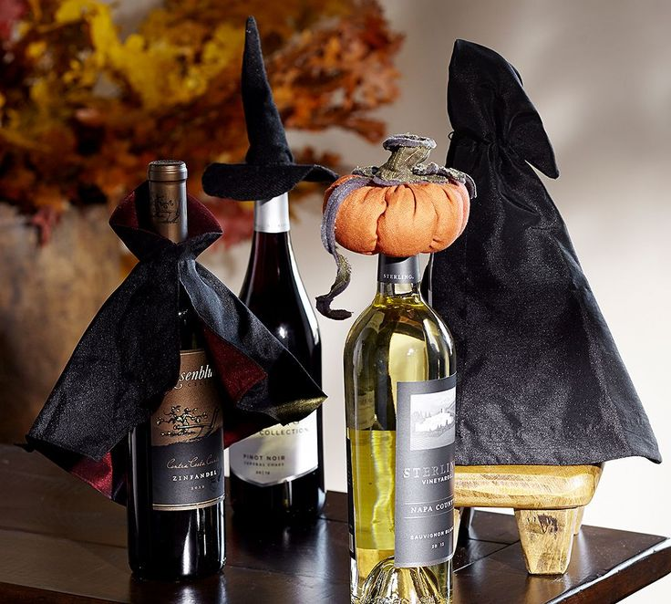 halloween wine bottle toppers from pottery barn make the perfect gift wrapper draculas cape perfect for a bottle of red - Halloween Barn