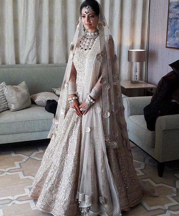 all white Indian bridal look,