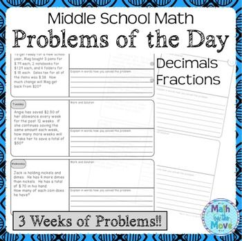 FREE Three weeks of daily word problem warm-ups is included in this mini-set.  Each problem has a space for work as well as for explaining how the problem was solved.  The explanation can lead to great partner or class discussions. 7-8