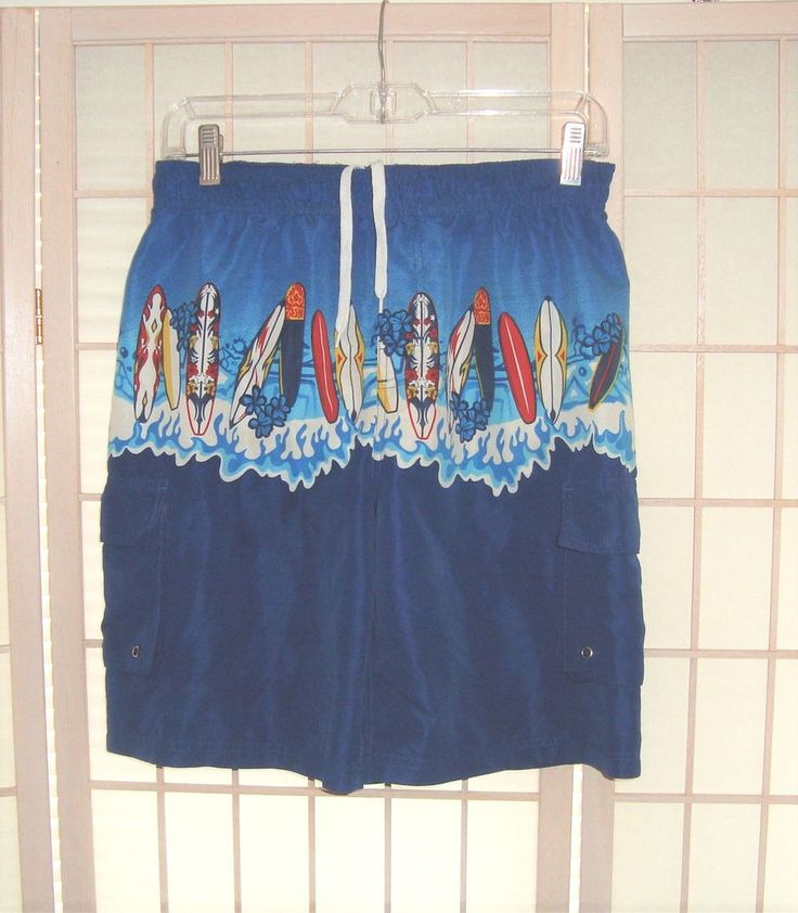Swimtek Sz M 10/12 Boy's Royal Blue Surf Board Design Swim Trunks Board Shorts #Swimtek #BoardShorts