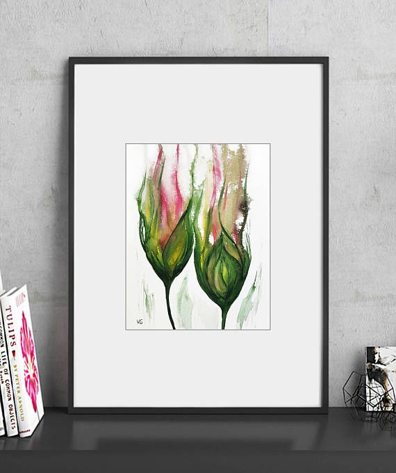 Original watercolor painting flowers home decor abstract
