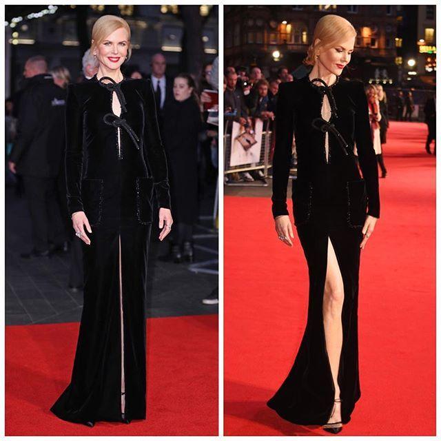 Для премьеры фильма «Лев» Николь Кидман выбрала черное бархатное платье Giorgio Armani с цилиндрическими деталями и накладными карманами, расшитыми кристаллами. #TSUM #ЦУМ #GIORGIOARMANI