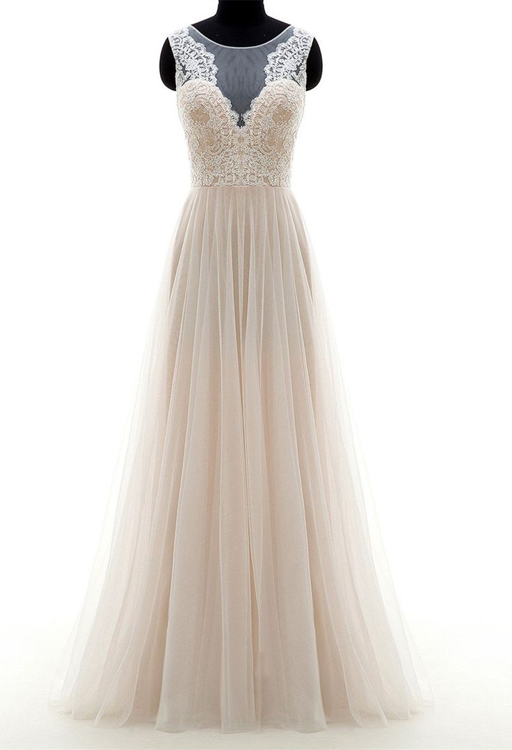 Glamorous A-line Wedding Dress,Scoop Sweep Train Bridal Dresses,Champagne Tulle Zipper-up Appliques Wedding Dress