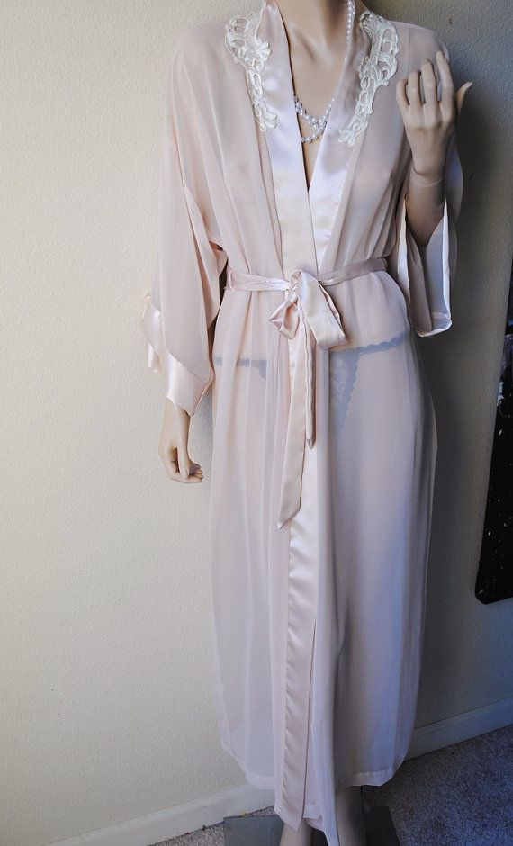 Vintage Long Sheer Beige Robe With Satin Trim By LingerieAddicts 5000