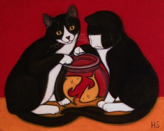 Heidi Shaulis: Originals Oil, Oil Paintings, Tuxedos Cat, Cat Artistry, Heidi Shauli, Goldfish Art, Art Cat, Bowls Originals, Goldfish Bowls