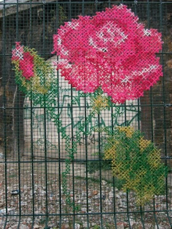 Urban cross stitch graffiti
