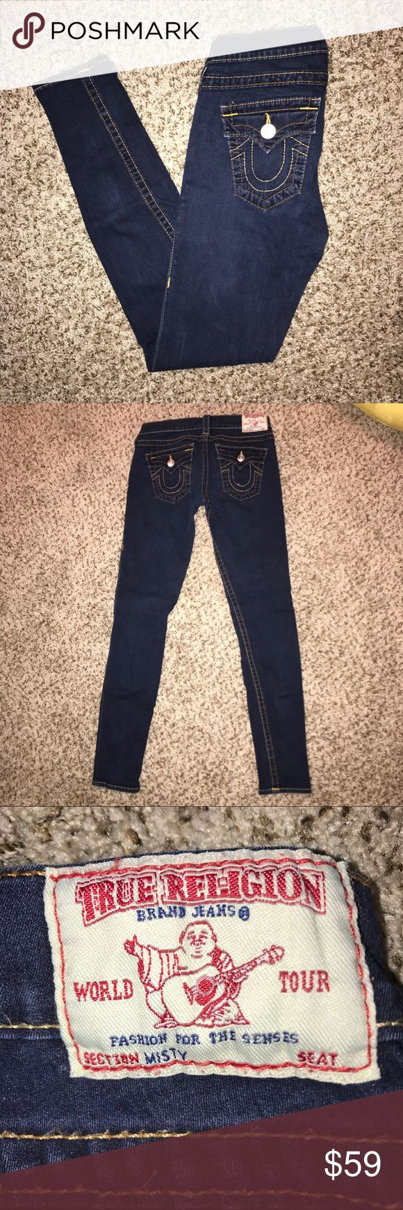 """💯Authentic True Religion Misty Jeggings These are a size 28 (US 6 Reg) pair of True Religion Misty Dark Wash Jeggings. These are in beautiful, mint condition as I took care of these well. Purchased from Saks 5th Avenue. Front pockets are fake, back pockets are real. Super tight jegging fit with zip and button closure. Inseam measures 29"""". I don't want to part with these but they don't fit me anymore. Made in 🇺🇸. Stretchy but run small. Fit more like a 26 waist. Price firm! True Religion…"""