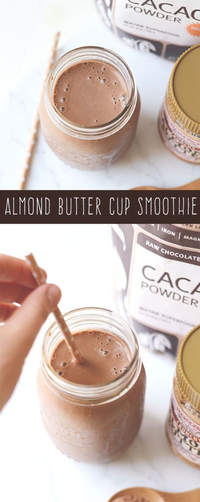 Almond butter and chocolate are a magical combination that should never be ignored. Why not make them into an awesome, healthy and protein packed Almond Butter Cup Smoothie? Cool. Let's do it.