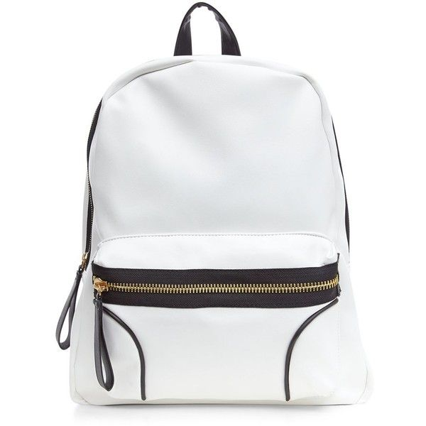 Black and White Sports Backpack (41 CAD) ❤ liked on Polyvore featuring bags, backpacks, accessories, white, malas, zipper bag, color block backpack, white bags, rucksack bag y colorblock bag