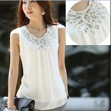 2015 yaz kadın bluz gömlek bayan rahat kolsuz parlak bir elmas şifon dantel bluzlar kadın gömlek üstleri s0255(China (Mainland))