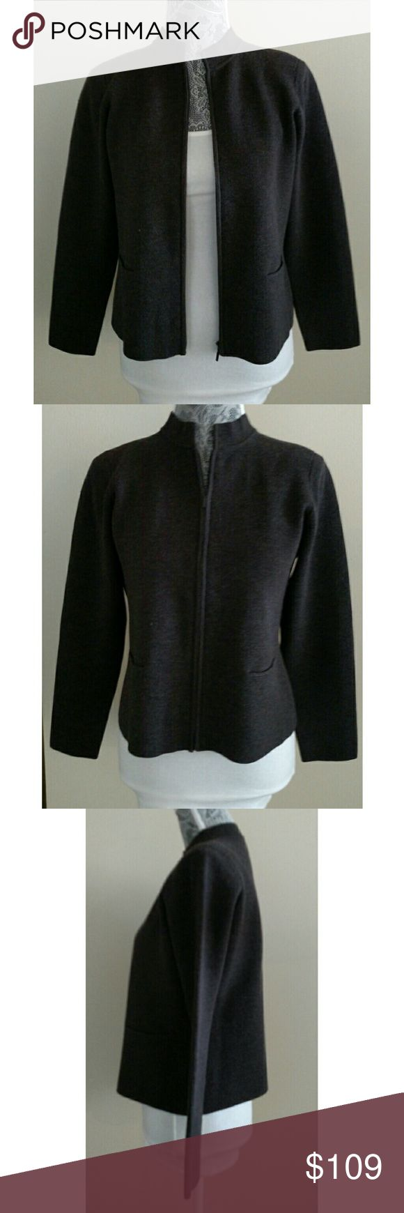 Eileen Fisher Petite Sweater Jacket - Size PM Eileen Fisher Petite Sweater Jacket - Size PM  Wool zip up sweater jacket. Two front pockets. Crewneck.  Unlined.  Excellent used condition  Materials: 100% wool  Hand wash cold  No stains, holes, or other damage Eileen Fisher Sweaters Cardigans