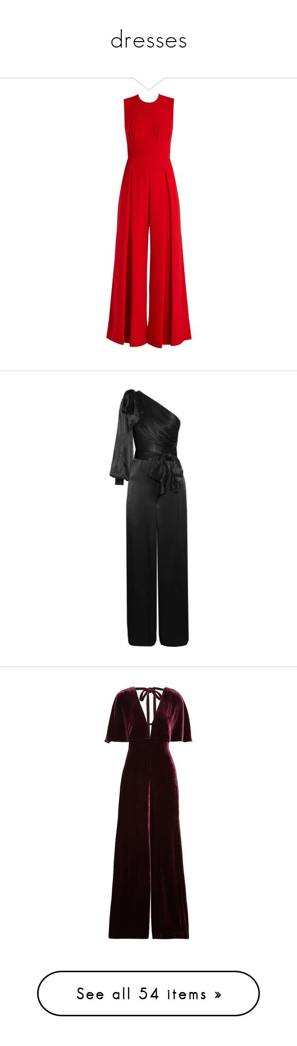 """""""dresses"""" by vie8rose ❤ liked on Polyvore featuring jumpsuits, emilia wickstead, jumpsuit, red, wide leg jumpsuit, open back jumpsuit, red jumpsuit, tailored jumpsuit, crepe jumpsuit and zimmermann"""