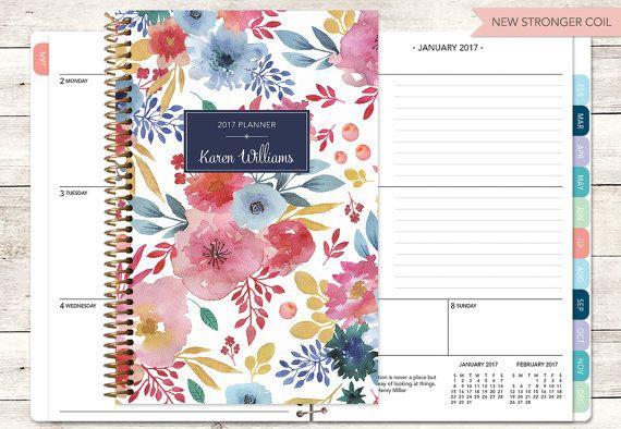 2017-Planer 12 Monat Kalender | Fügen Sie monatliche Registerkarten Wochenplaner Student | personalisierte Planer Agenda | blau rosa weiß Aquarell Blumen