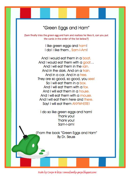 Image result for green eggs and ham rhyming words