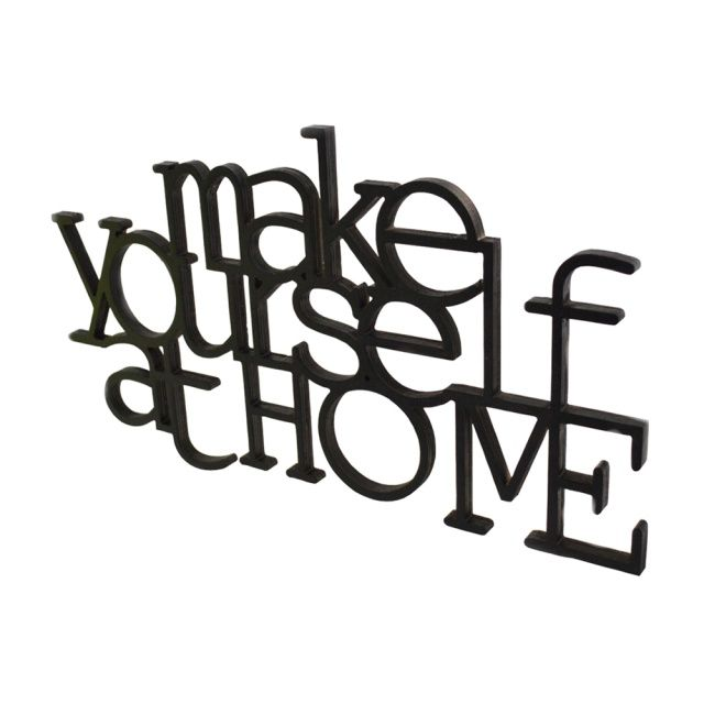 MAKE YOURSELF AT HOME - Rabose Workshop  Wooden, 3D inscription made of plywood.