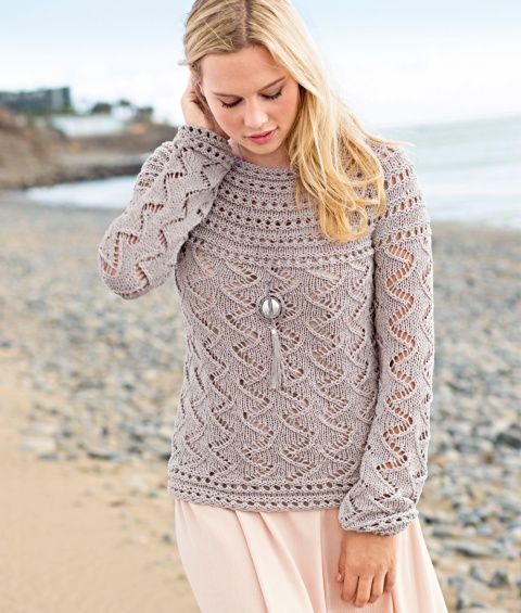 Cardigan with an openwork pattern and a round yoke of spokes