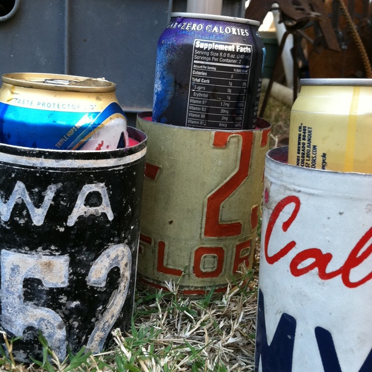 Recycled license plate can koozie diy license plates for Colorado fishing license walmart