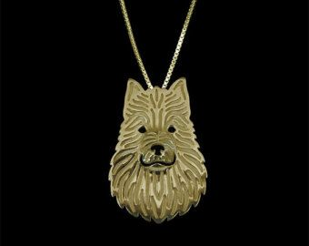 Australian Terrier jewelry - Gold pendant and necklace