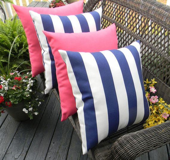 set of 4 indoor outdoor decorative throw pillows 2 navy blue u0026 white stripe and 2 solid pink pillows