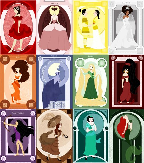 Aries - Belle Taurus - Cinderella Gemini - Mulan Cancer - Tiana Leo - Meg Virgo - Aurora Libra - Rapunzel Scorpio - Jasmine Sagittarius - Pocahontas Capricorn - Jane Aquarius - Snow White Pisces - Ariel