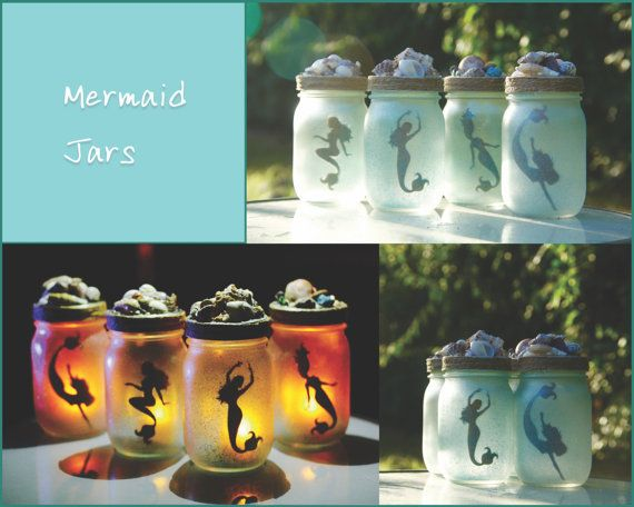 Catch a Mermaid in a Jar. With a simple electric tea light for illumination, these fun decorative jars are easy to maintain. These frosted glass jars come in small and large. Large are $20, Small are $15. Each jar is hand made to order so while I make sure they are all the same quality, I dont necessarily ship the jar in the photo. As a result products will have subtle variations from one piece to the next, i.e. Shells & glitter color.
