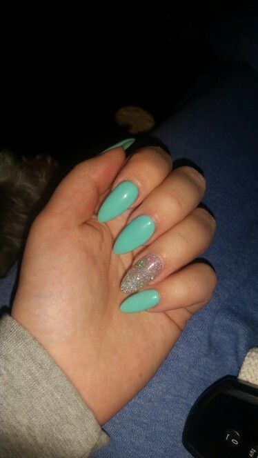 acrylic nails with mint green and silver glitter shellac