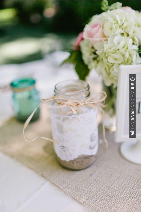 laced wrapped mason jar   VIA #WEDDINGPINS.NET