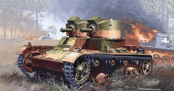 7TP (wariant dwuwieżowy) – polski czołg lekki. Uzbrojony w 2 karabiny maszynowe wz.30 kal.7,92mm. Rys. Andrzej Deredos. https://www.facebook.com/wojskopolskie19391945/photos/a.378969635634715.1073741831.376641135867565/380517838813228/?type=1