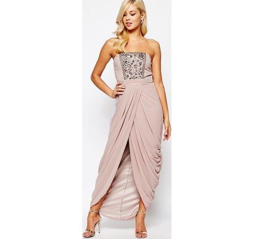 Little Mistress - Vestito a fascia decorato con gonna a portafoglio arricciata - asos marroni Floreale damigella cerimonia