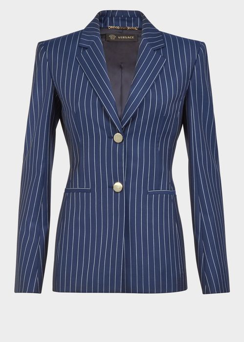 Versace Pin Stripe Wool Blazer for Women | US Online Store. Pin Stripe Wool Blazer from Versace Women's Collection. Single breasted, double button city pinstripe, V-line silhouette wool blazer. The Versace woman's power suit, pinstripe edition is lined with turned seams.