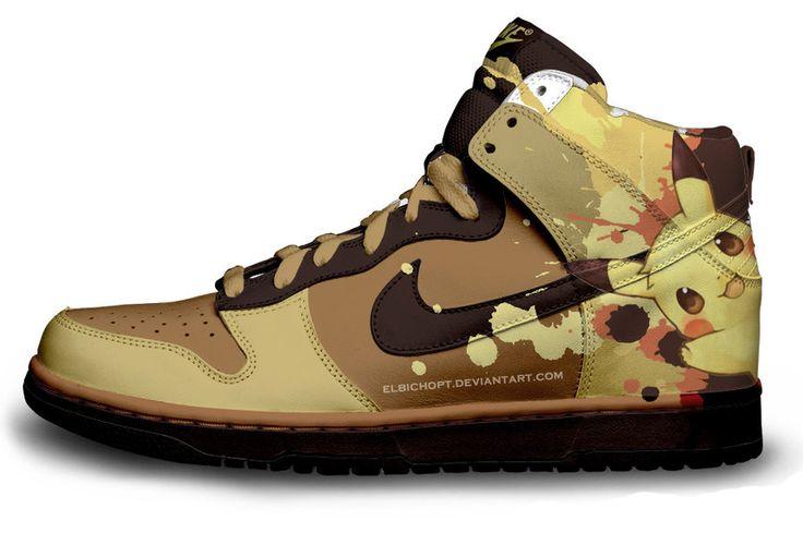 Nike SB Dunk Cartoon Shoes : 10 Top Pokemon Anime Character Pikachu Nike Dunks SB Tennis Shoes