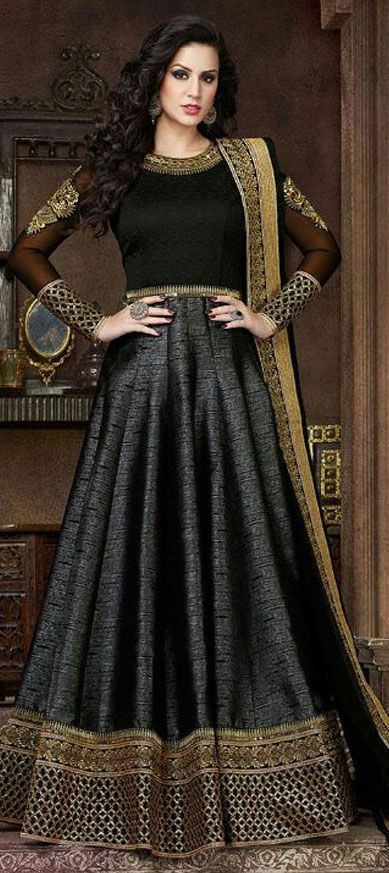 458916: Black and Grey  color family  stitched gown .