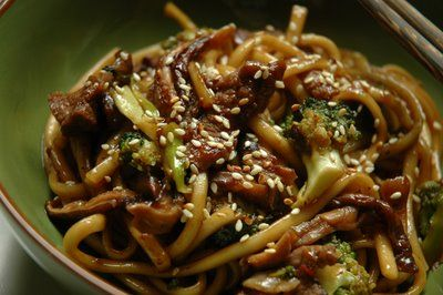 Pan-Fried Udon Noodles with Beef, Broccoli.  I used Chicken, been sprouts, broccoli, and pea pods.  It was fantastic!!