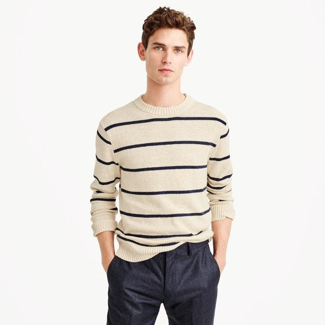 Cotton-wool crewneck sweater in wide stripe