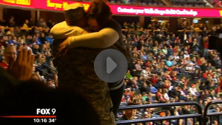 Soldier Surprises Wife at NHL Hockey Game For Her Birthday